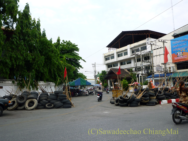 2010年の赤服騒動時のチェンマイ市内中心部