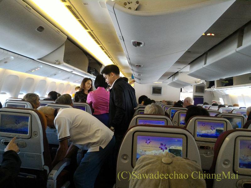 タイ国際航空777-300ER型機のキャビン