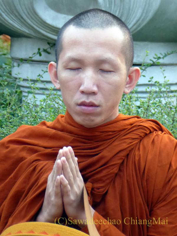 チェンマイ元旦朝の特別托鉢で読経する僧侶