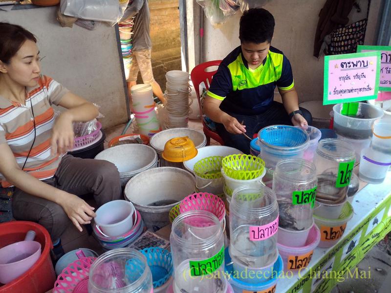 チェンマイのマーカブーチャー(万仏節)の日のワットチャイモンコンの出店