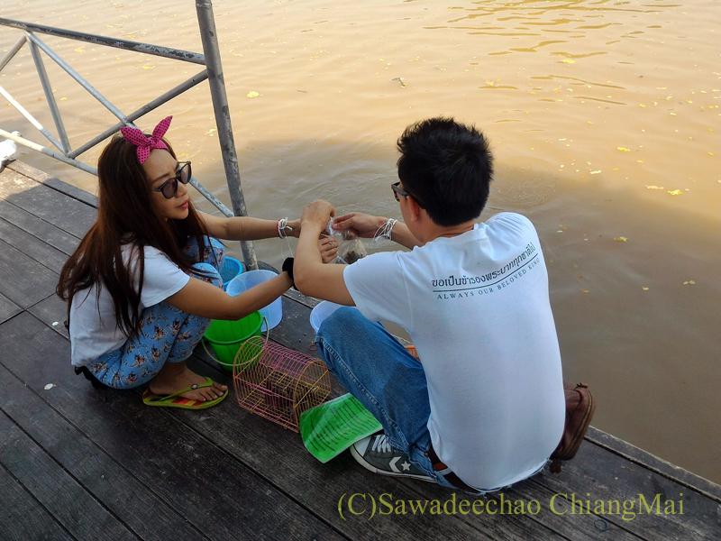 チェンマイのマーカブーチャー(万仏節)の日のワットチャイモンコンでの放生