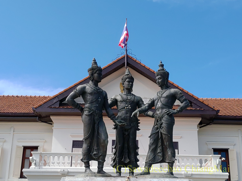 チェンマイにある3人の王様記念像