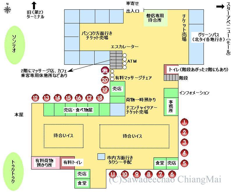 チェンマイにある新アーケードバスターミナル構内マップ