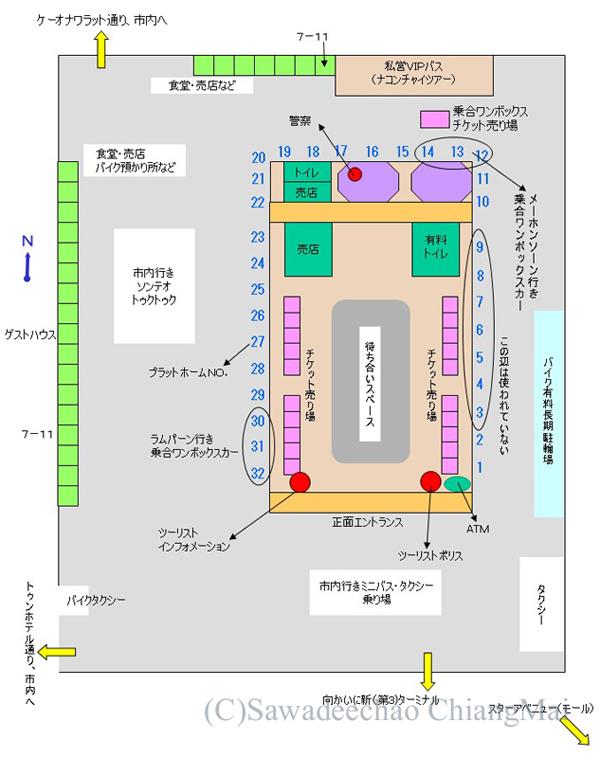 チェンマイにある旧アーケードバスターミナル構内マップ