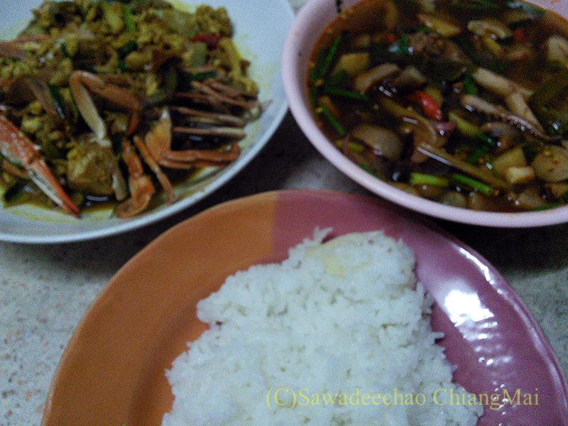 チェンマイで近所のおばさんにごちそうになった夕食全景
