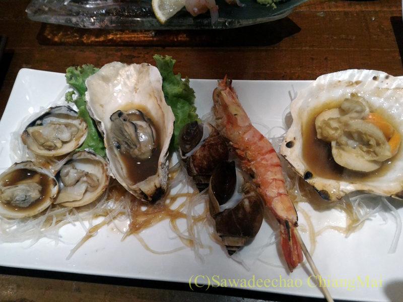 タイのバンコクにある海鮮居酒屋ハマ壱の浜焼き盛り合わせ