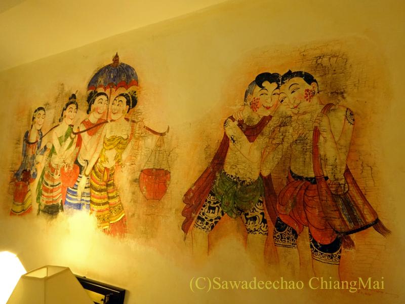 チェンマイの高級ブティックホテル、ヤーンカムビレッジの壁の絵