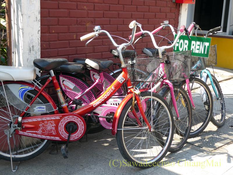 チェンマイ市内のレンタル自転車屋