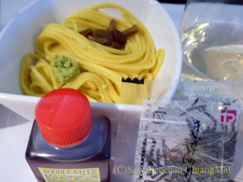 キャセイパシフィック航空CX500便ビジネスクラスで出た日本蕎麦