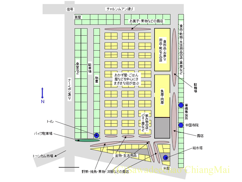 サンパコーイ市場内部マップ