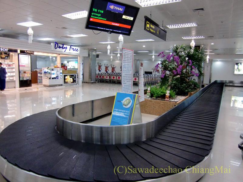 チェンマイ空港国際線ターミナルの荷物受け取りターンテーブル