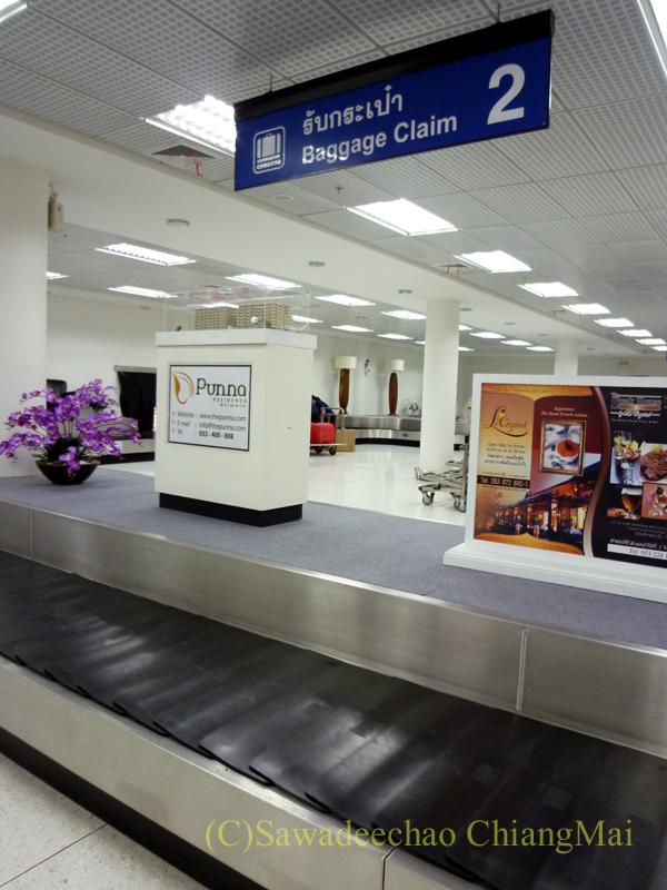 チェンマイ空港の国内線の預け入れ荷物受け取りターンテーブル