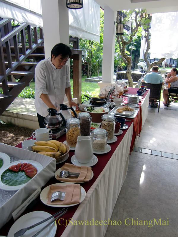 チェンマイの高級ブティックホテル、ボディセリーンの朝食
