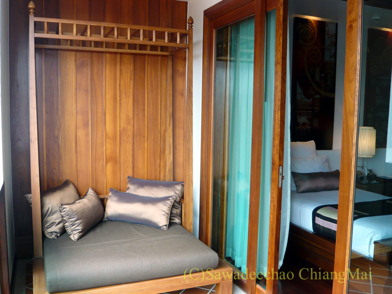 チェンマイのホテル、ラティラーンナーリバーサイドスパリゾートのテラス