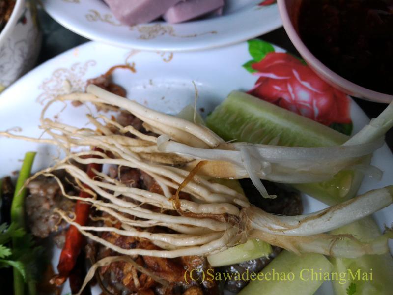 チェンマイの友人宅で食べたタイヤイ(シャン族)料理のカーオガンチンの付け合わせ