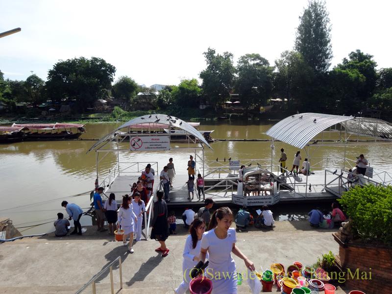 ウィサカブーチャの日のチェンマイのワットチャイモンコンでの放生の様子