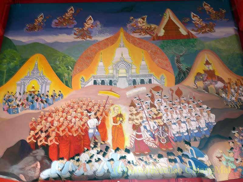 チェンマイで一番美しい仏像が納められている堂の入口の壁画