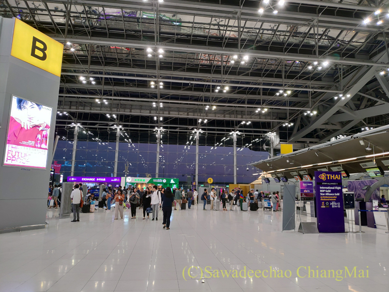 早朝のスワンナプーム空港国内線チェックインエリア