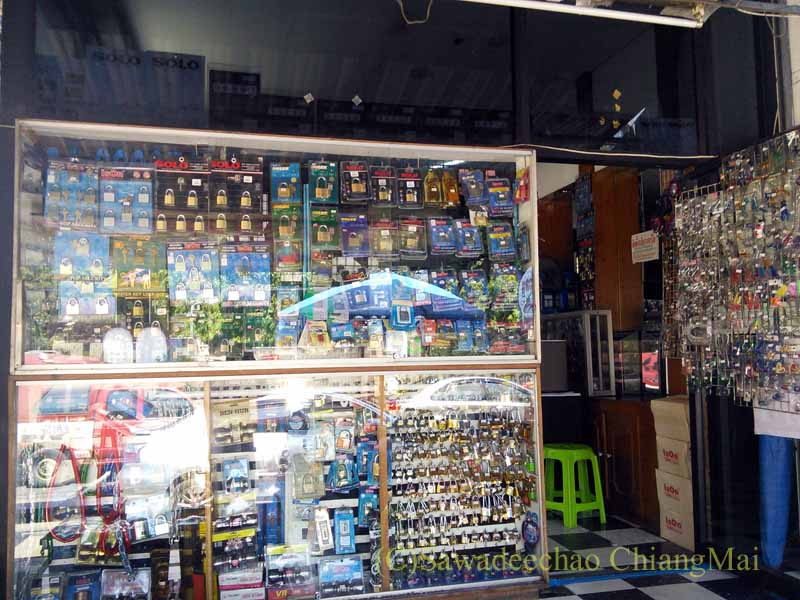 チェンマイにある比較的大きな合鍵屋の店内