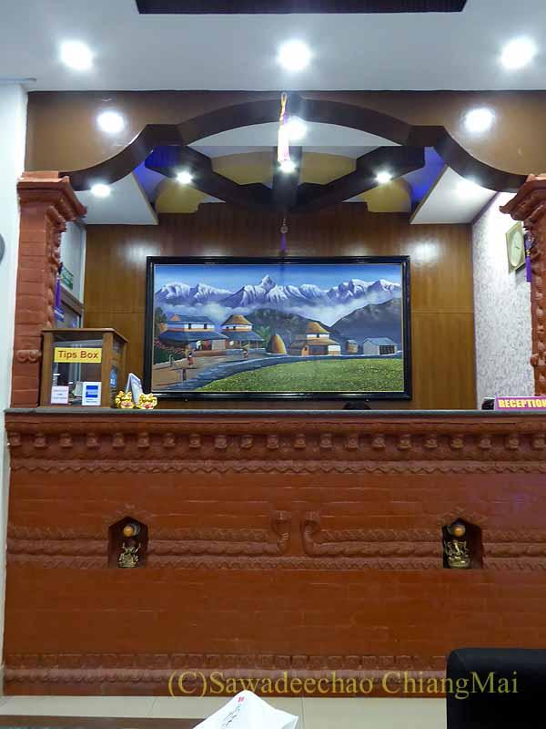 ネパールの首都カトマンズのおすすめ宿アスターホテルのフロント