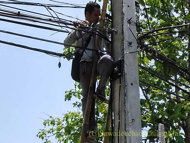 チェンマイの自宅へのインターネットとCATV回線敷設工事