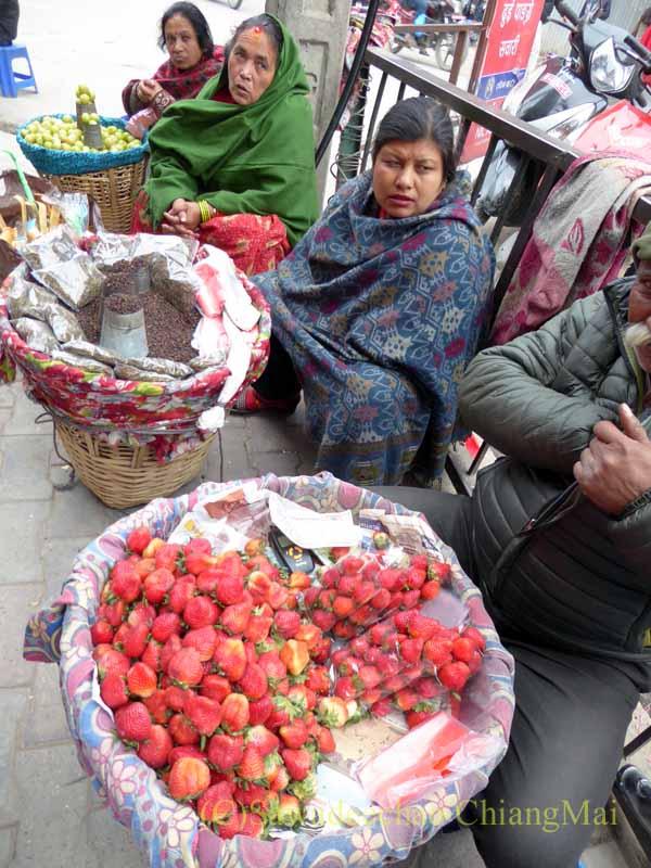 ネパールの首都カトマンズのジャマルの歩道橋下に出ているイチゴ売り