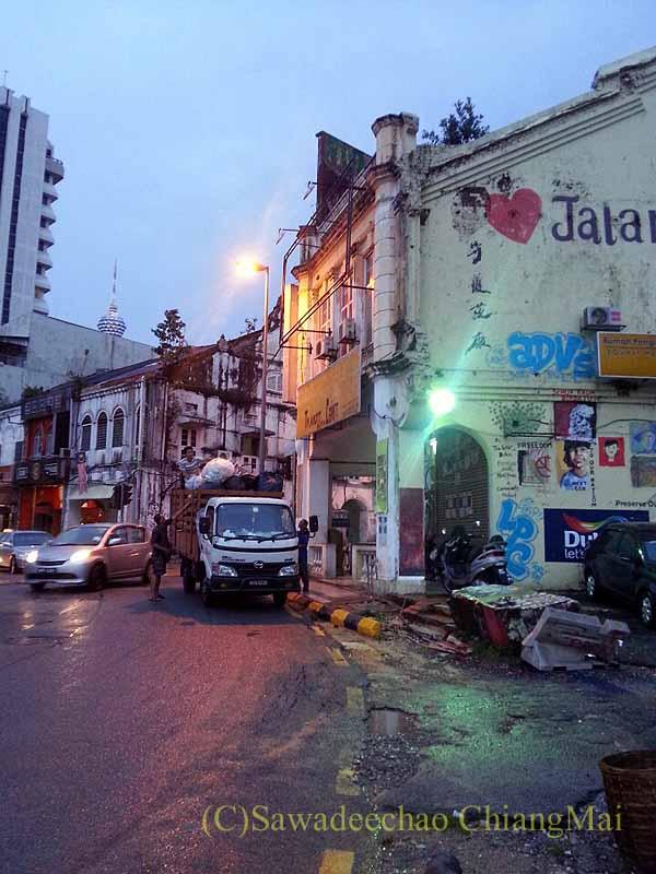 マレーシアのクアラルンプールのチャイナタウンの壊された家並み