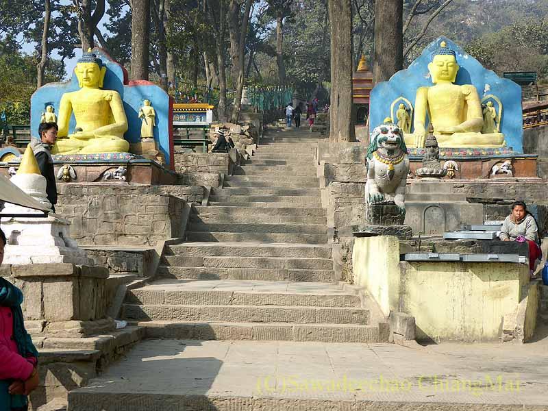 ネパールのカトマンズ郊外にあるスワヤンブナート寺院の石段