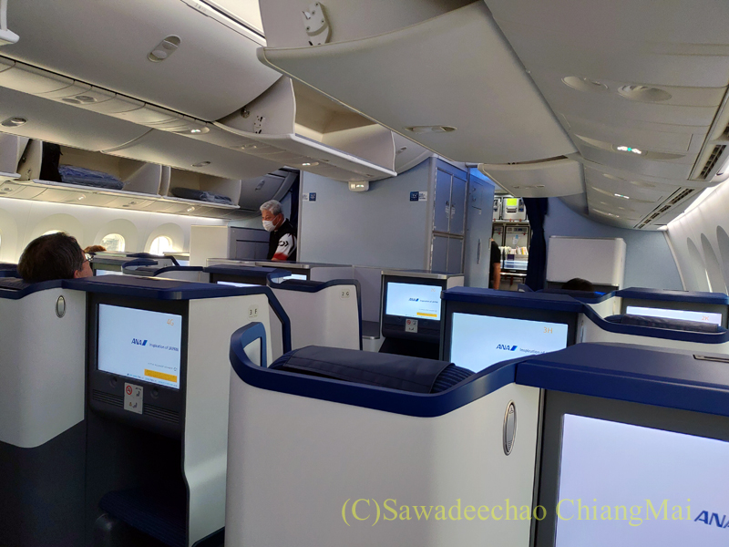ANA全日空NH878便のビジネスクラスのキャビン