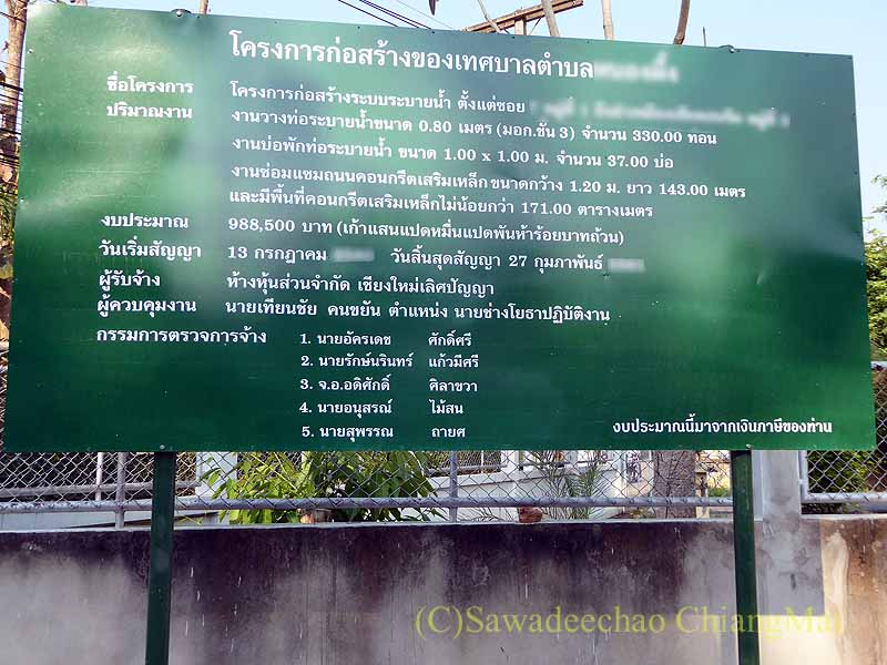 チェンマイの自宅の前の道路での下水溝工事の看板