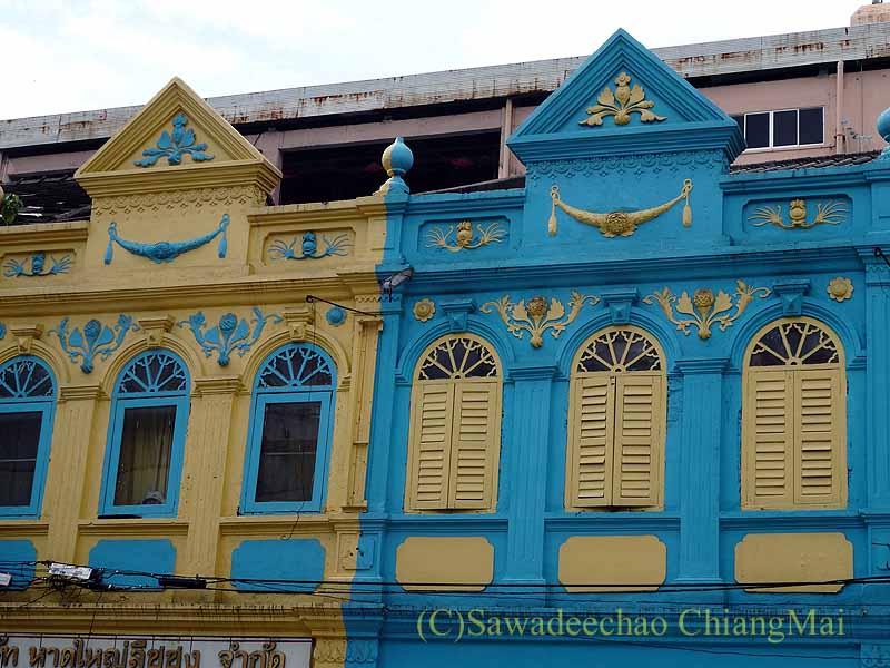 タイ南部の街ハジャイの古い建物の色づかい