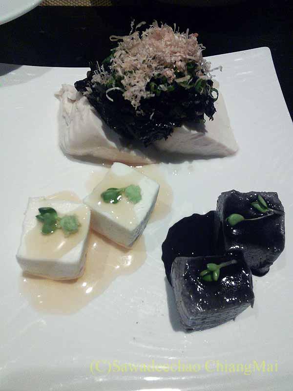 バンコクのタニヤ通りにある日本料理店「道」の豆腐3種盛り