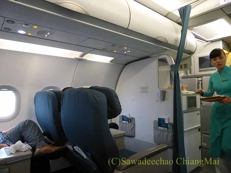 ベトナム航空VN603便のビジネスクラスのキャビン