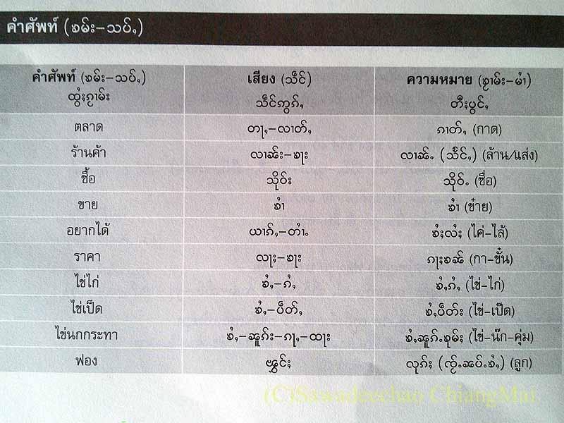 チェンマイでもらったタイヤイ(シャン族)語のテキストブックの単語帳