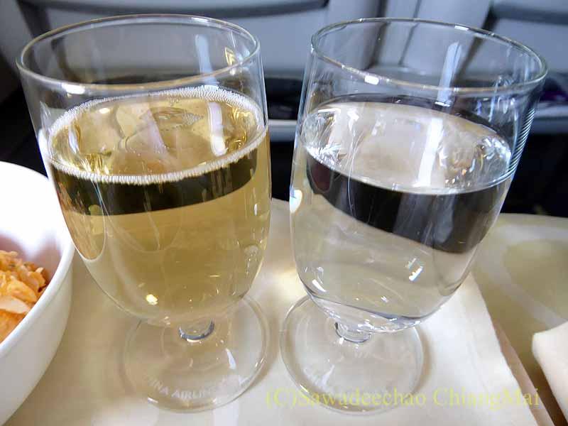 チャイナエアラインCI838便ビジネスクラスで出た食前酒