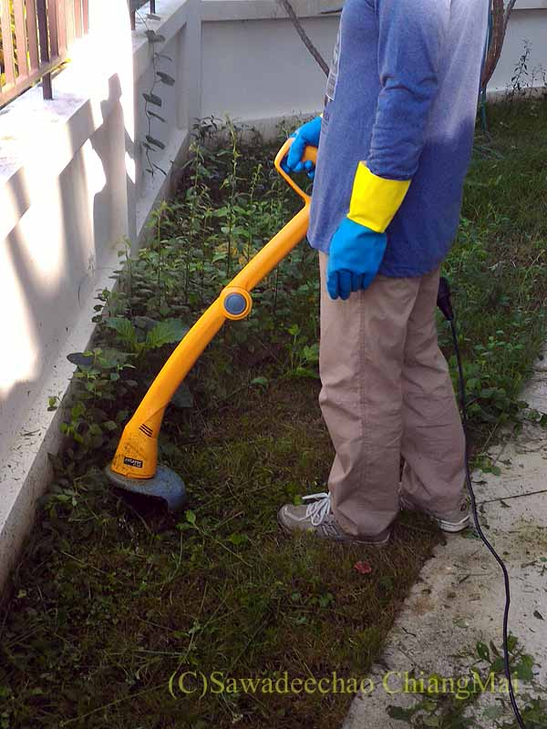 チェンマイで購入した草刈り機を使って実際に草を刈る