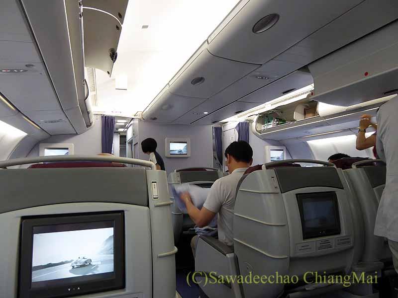 中華航空CI106便ビジネスクラスのキャビン