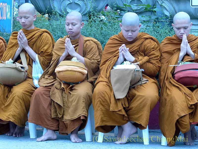 チェンマイ市内の元旦特別タムブン(徳積行)の読経する僧侶