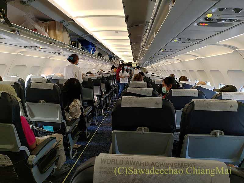 バンコクエアウェイズPG219便の機内