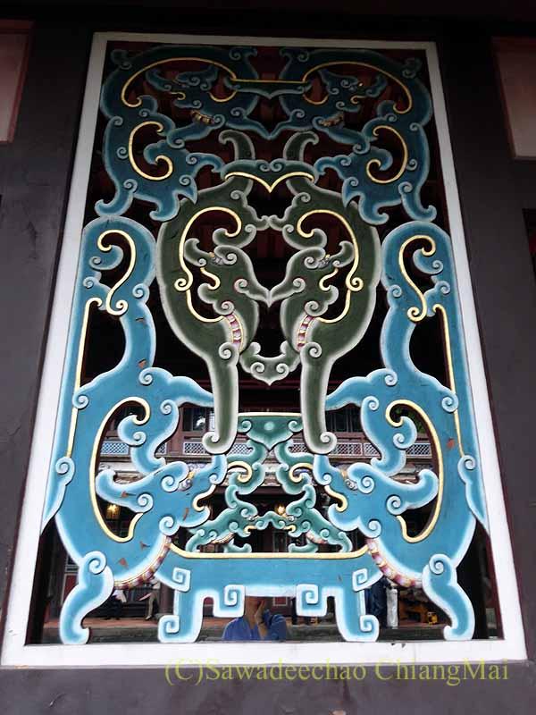 台北郊外にある昔林本源園邸の透かし窓