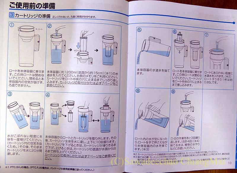 東レのトレビーノポット型浄水器の説明書
