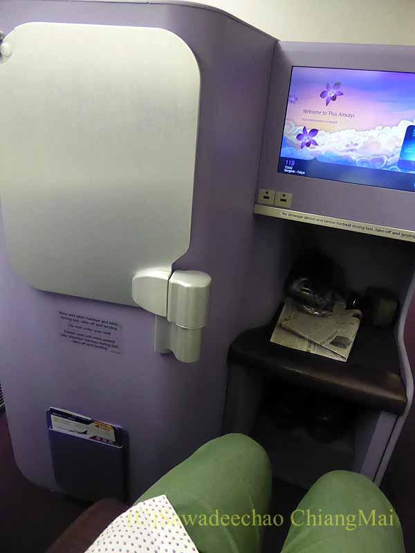 タイ国際航空TG642便のビジネスクラスのシート