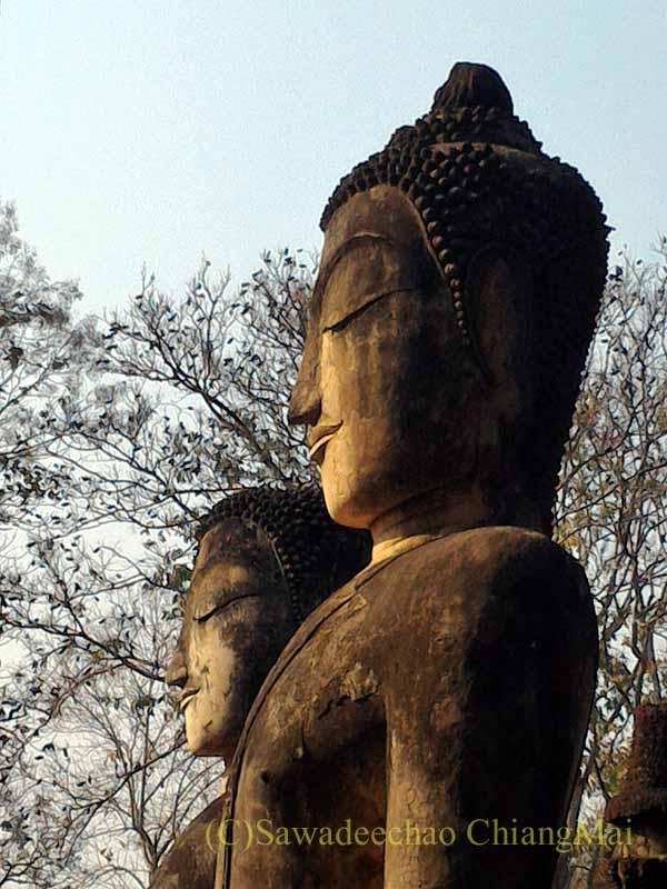 タイのカムペーンペット遺跡のワットプラケーオ本堂脇の仏像の頭部