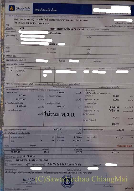 チェンマイで更新手続きした自動車任意保険の証書