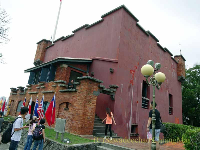 台湾の首都台北近郊の街、淡水の紅毛城の要塞概観