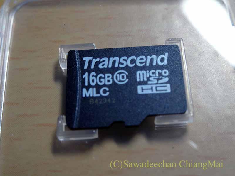チェンマイの自家用車用ドライブレコーダーのSDカード