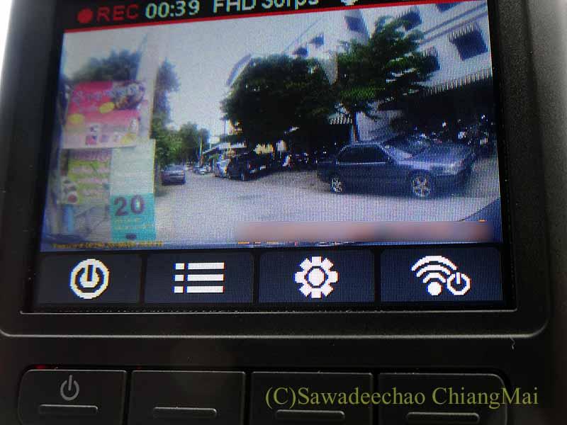 チェンマイの自家用車のドライブレコーダーのモニター