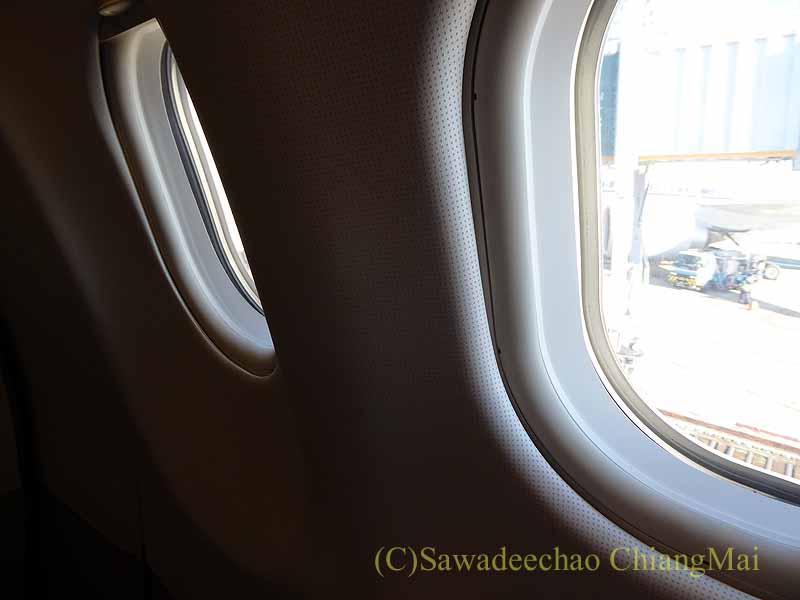 タイ国際航空TG641便のビジネスクラスの席からの風景