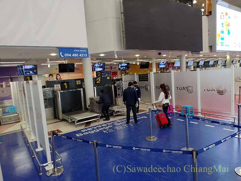 チェンマイ空港の預け入れ荷物の検査場
