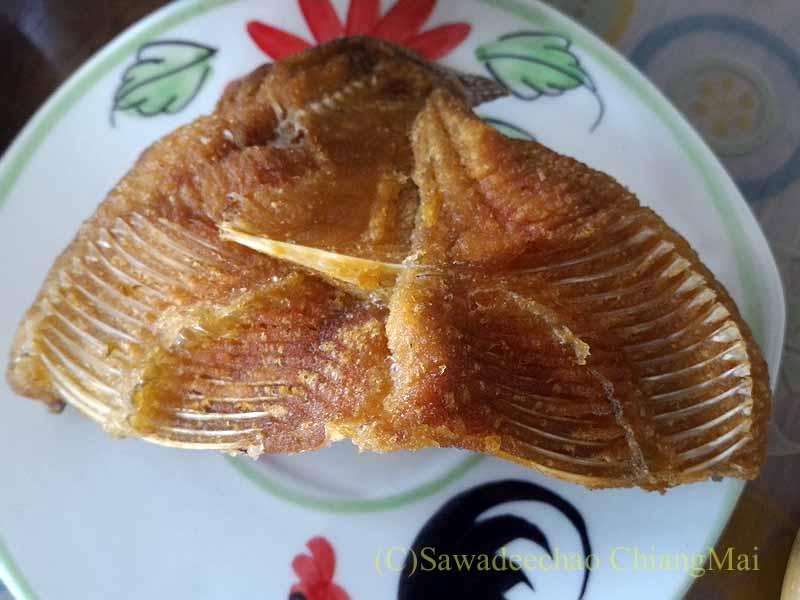 チェンマイのJJマーケット安全食品定期市で買った一夜干し魚の素揚げ